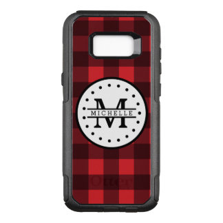 Red black Buffalo Plaid Lumberjack Name Monogram OtterBox Commuter Samsung Galaxy S8+ Case
