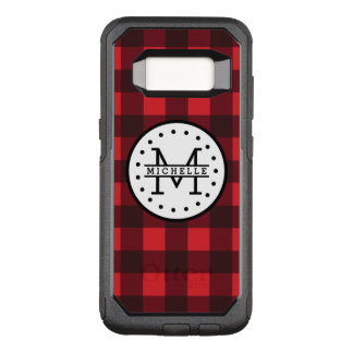 Red black Buffalo Plaid Lumberjack Name Monogram OtterBox Commuter Samsung Galaxy S8 Case