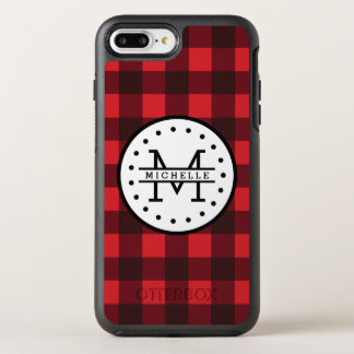 Red black Buffalo Plaid Lumberjack Name Monogram OtterBox Symmetry iPhone 8 Plus/7 Plus Case