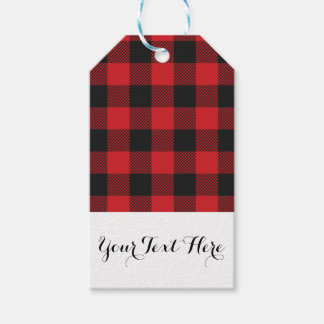 Red Black Buffalo Plaid Personalized Gift Tags