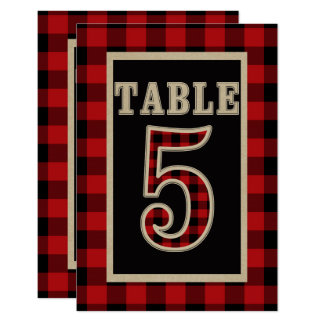 Red & Black Buffalo Plaid Rustic Table Number 5