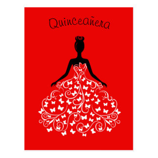 Red Black Butterfly Gown Quinceanera Invitation Postcard