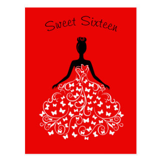Red Black Butterfly Gown Sweet Sixteen Invitation Postcard