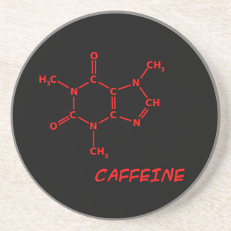 Red & Black Caffeine Molecule Coaster