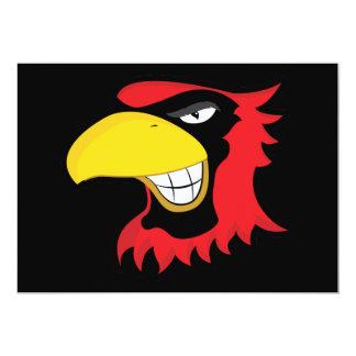 "RED BLACK CARDINAL BIRD MASCOT GRAPHIC ATTITUDE 5"" X 7"" INVITATION CARD"