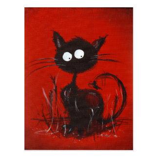 Red / Black Cat Art Postcard