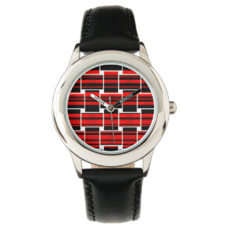 Red Black Checkerboard Trendy Sacramento Wristwatches