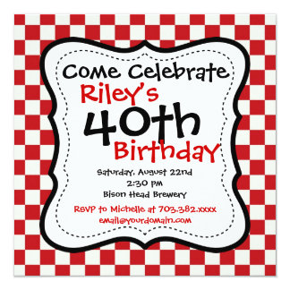 Red Black Chequered 40th Birthday Party Invitation