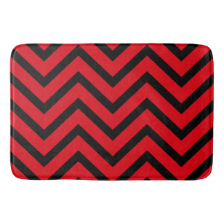 Red Black chevron Pattern modern bath mat Bath Mats
