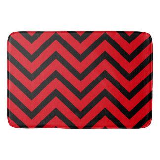 Red Black chevron Pattern modern bath mat Bath Mats
