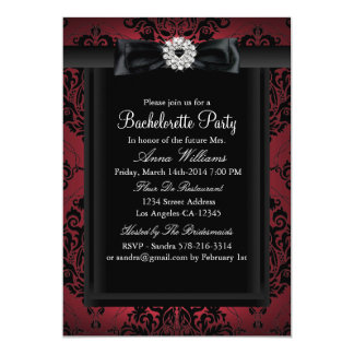 Red & Black Chic Damask Bachelorette Party Card