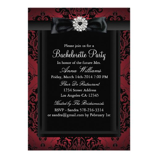 Red & Black Chic Damask Bachelorette Party Personalized Invitations