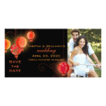 Red & Black Chinese Lanterns Wedding Save the Date Personalized Photo Card