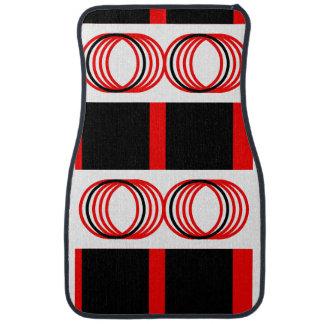 Red Black Circles Squares 4pPierre Car Mat