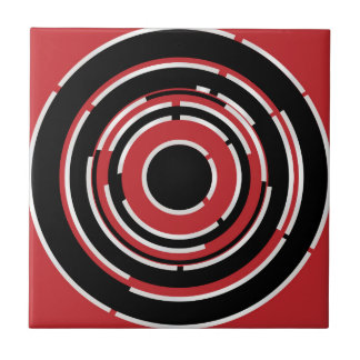 Red Black Circular Abstract Background Small Square Tile