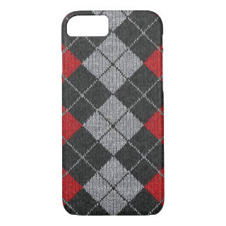 Red & Black Comfy Argyle Look iPhone 7 Case