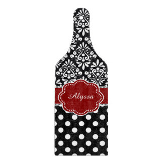 Red Black Damask Dots Personalized Cutting Board