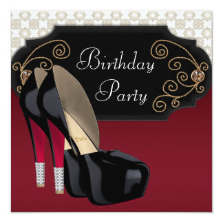 Red Black Damask High Heel Shoes Birthday Party Personalized Invitations