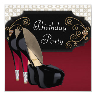 "Red Black Damask High Heel Shoes Birthday Party 5.25"" Square Invitation Card"