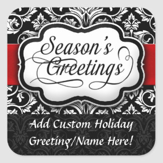 Red Black Damask Holiday Square Stickers