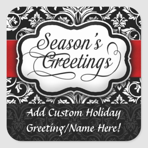 Red/Black Damask Holiday Square Stickers