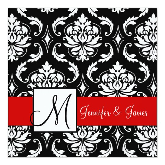 Red Black Damask Initial Wedding Invitation