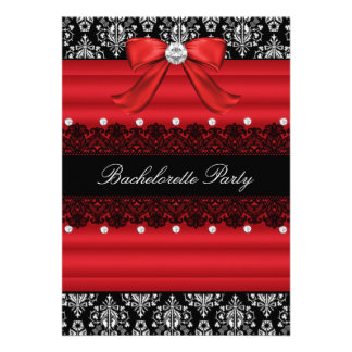 Red Black Damask Lace Bachelorette Party Invite