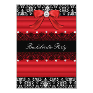 "Red & Black Damask Lace Bachelorette Party Invite 5"" X 7"" Invitation Card"