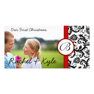 Red & Black Damask Our First Christmas Your Photo Photo Card