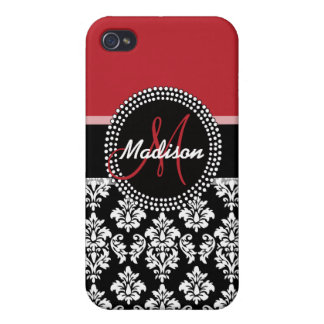 Red Black Damask Pattern, Your Name Monogram Covers For iPhone 4