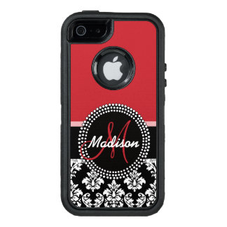 Red Black Damask Pattern, Your Name Monogram OtterBox iPhone 5/5s/SE Case