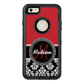 Red Black Damask Pattern, Your Name Monogram OtterBox iPhone 6/6s Plus Case