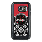 Red Black Damask Pattern, Your Name Monogram OtterBox Samsung Galaxy S7 Case