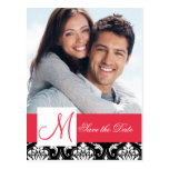 Red Black Damask Photo Save the Date