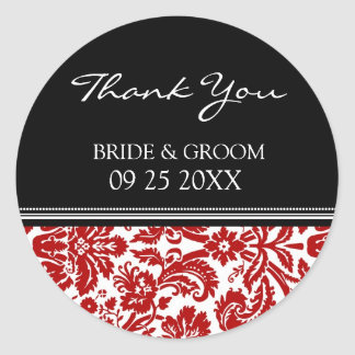 Red Black Damask Thank You Wedding Favor Tags Round Sticker