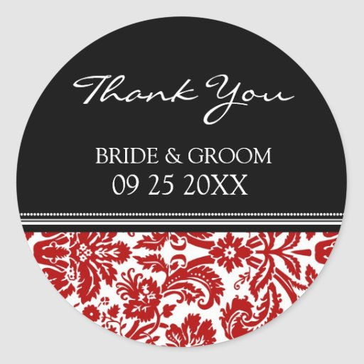 Red Black Damask Thank You Wedding Favor Tags Round Stickers