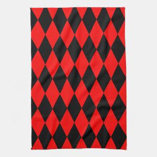 Red & Black Diamond Argyle Checkers Hand Towel