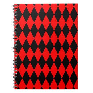 Red & Black Diamond Argyle Checkers Spiral Notebook