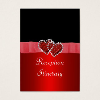 Red & Black Diamond Locking Hearts Wedding Business Card
