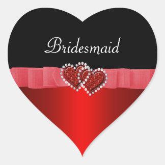 Red & Black Diamond Locking Hearts Wedding Heart Sticker