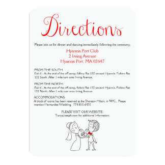 Red & Black Directions / Details Bride And Groom 13 Cm X 18 Cm Invitation Card