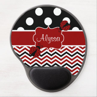 Red Black Dots Chevron Ladybut Personalized Gel Mouse Pad
