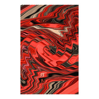 Red & Black Dynamic Abstract Spiral Design Pattern Customized Stationery