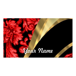 Red black floral damask business card templates