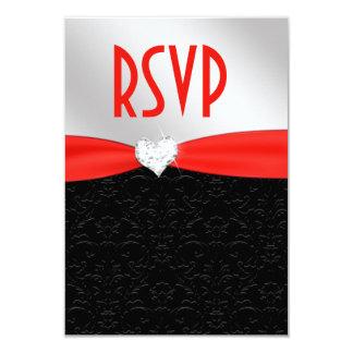 Red Black Floral Damask Diamond Heart RSVP Card