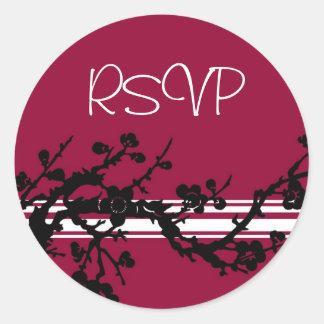 Red Black Floral RSVP Envelope Seals Round Sticker
