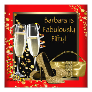 Red Black Gold Champagne 50th Birthday Party Card