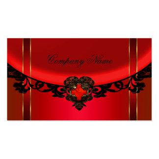 Red Black Gold Elegant Boutique Red Profile Business Cards