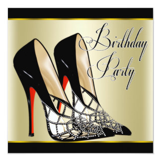 Red Black Gold High Heels Birthday Party Card