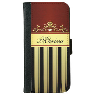 Red Black Gold Stripes Girly iPhone 6 Wallet Case